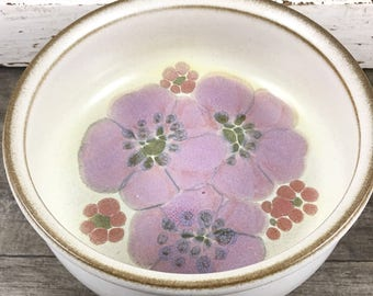 Denby gypsy small serving bowl, denby gypsy, 1970's denby, made in england stoneware, likac flower