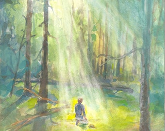 Prayer -- Joseph Smith in the Sacred Grove -- Top-Quality 8 x 10 Print of an Original Watercolor Painting