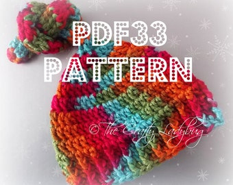 Knotted pixie crochet hat pattern - 5 sizes - newborn to 24 months - PDF33 instant download