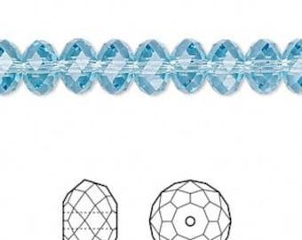 8mm Aquamarine Swarovski Rondelle Crystals - Aquamarine Blue - Package of 12