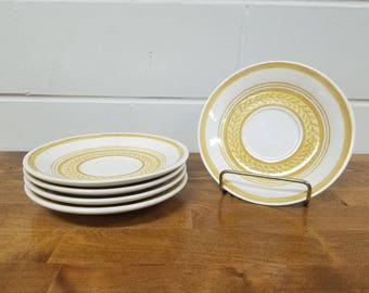 Vintage Dinnerware China Casablanca Cavalier 5 Saucers Retro Yellow Ironstone