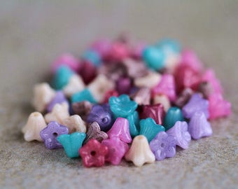 Baby Bell Flower Bead Mix, Czech Glass Flower Beads Mix, Glass flower mix, 6x5mm (60pcs) NEW