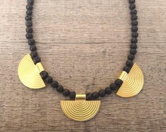 Greek Style Gold plated Brass Elements Black Lava Gemstones Handmade Unique Necklace Ancient Beauty / Coachella Style