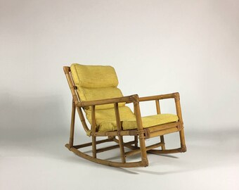 Vintage Rocking Chair, Mid Century Rattan Chair, Bamboo Chair, Rattan  Furniture, Rattan