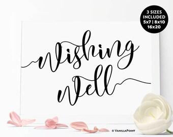 Wedding Wishing Well Sign, Printable Wedding Sign, Printable Calligraphy Sign,Wedding Gift Table Well Wishes Sign, Wishing Well Wedding Sign