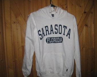Vtg Sarasota Flordia Hooded Sweatshirt Med Free Ship White