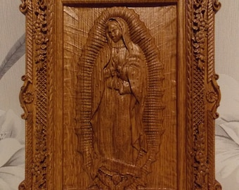 Our Lady of Guadalupe Wood carvings   Virgin Mary de Guadalupe religious catholic icons Gift ideas for women Gifts for mom