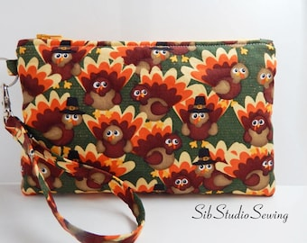 "Thanksgiving Turkeys Clutch, 8.75 x 5.5 inches, Fits iPhone 8 Plus, 7 Plus, 6 Plus, Smartphone up to 7"" Length, Padded, Fully Lined"