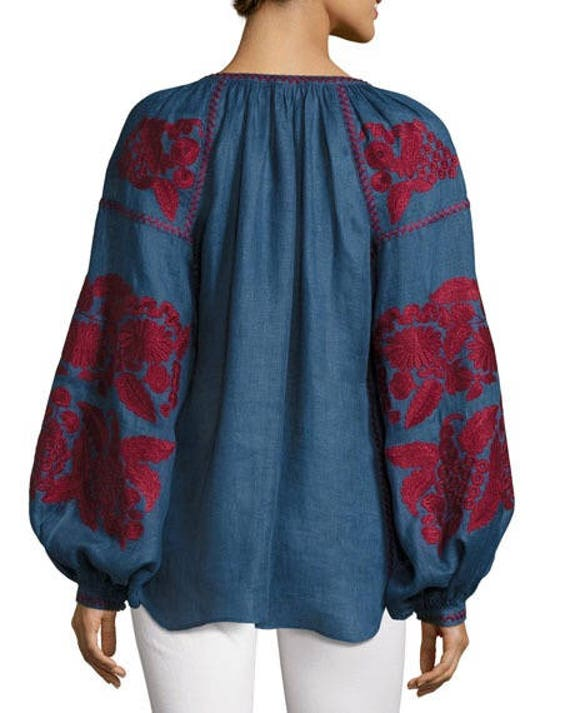 style color with jeans blouse Casual Urban Mexican Loose oversize customized fit embroidery chic fit blouse Vyshyvanka ljm loose UqwEx5OtCn