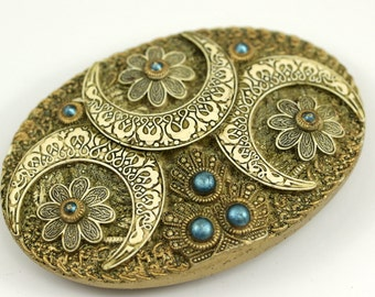 1 Vintage Ivory Ceramic Handmade Belt Buckle with Blue Beads , Made in Germany 102x70 mm YS35