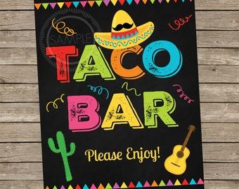8x10 Printable Taco Bar / Fiesta / Cinco De Mayo / Nacho Bar Party Menu *INSTANT DOWNLOAD*
