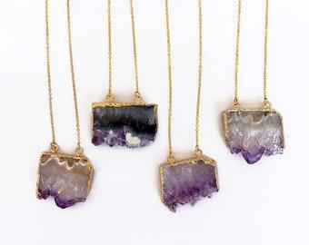 Amethyst Druzy Necklace, Amethyst Geode Slice Necklace, Raw Amethyst Necklace