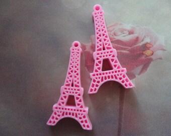 Eiffel tower kawaii cabochon charms  pink  2 pcs--USA seller