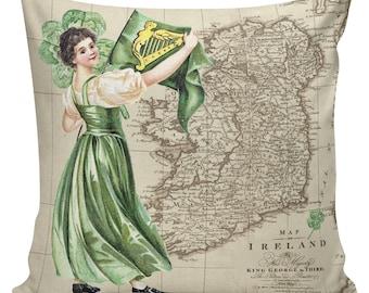 St Patricks Day Pillow, Pillow Cover, Ireland, Burlap Pillows, Irish, Spring Pillows, Cotton Pillow Cover, #SP0189, Elliott Heath Designs