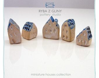 Five Houses - miniature pottery houses, Ceramic houses, Small clay houses, Tiny house.