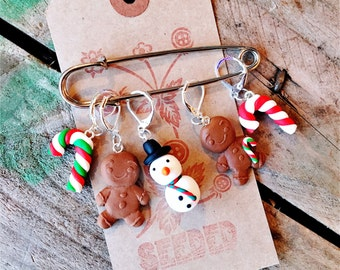 Festive Stitch Markers - Candy Canes, Gingerbreadmen and Snowman