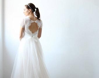 Cream Ivory Keyhole Open Back Lace Wedding Dress