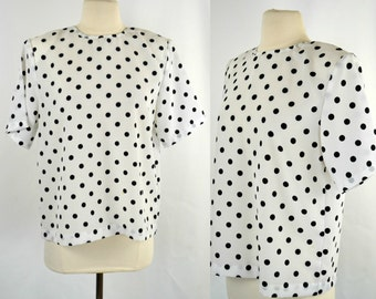 1980s White and Black Polka Dot Blouse by Impressions of California