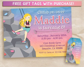 Rock Climbing Party Invitation. Printable Blonde Girl Climber, 5x7 FREE Gift Tag!