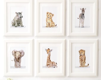 Safari Nursery Print set of 6, Safari animals , African Baby Animal Prints, Giclee, African Animal Art, Safari Nursery Art