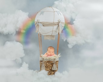 Hot Air Balloon prop newborn digital backdrops backdrop for boys and girls newborn digital prop for rainbow baby, balloon in sky with clouds