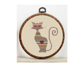 Colorful Cat-Cross Stitch Pattern-Modern Sampler-Pdf-Instant Download