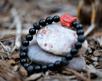 Black Jasper & Lava Rock Bracelet ~ Grounding