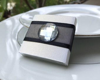 Unique Wedding Favor Black and White Rhinestone Chocolate for Wedding, Bridal Shower, Engagment,