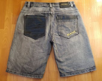 KARL KANI shorts, gray black Kani baggy jeans, denim shorts of 90s hip-hop clothing, 1990s hip hop, OG, gangsta rap, size W 38