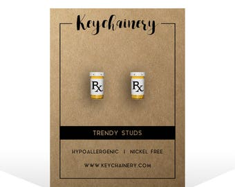 Pill RX Stud Earrings - Medication Studs - Drug Studs - Pill Bottle Accessories