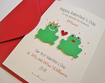 Personalised First Valentine's as Mr and Mrs/Husband and Wife Handmade Valentine's Card