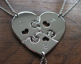 Three Piece Heart Puzzle with Hearts with Initials