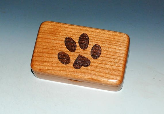 Handmade Wood Box - Paw Print Heart Box of Cherry by BurlWoodBox -Gift Box, Jewelry Box, Wooden Box, Engraved Box, Dog Cat Pet Box, Vet Gift