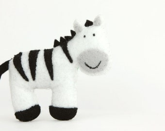 Felt Plushie Hand sewing Pattern PDF. Complete instructions to make Stripes the Zebra. Instant download.