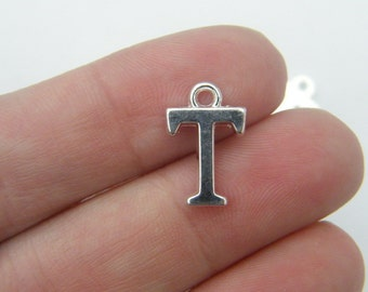8 Letter T alphabet charms silver plated