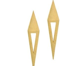 Solid Gold Triangle Earrings, Long Triangle Earrings, 14K Gold Geometric Earrings, Gold Contemporary Earrings, Gold Modern Earrings