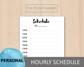 Printable   HOURLY SCHEDULE Planner Insert   Personal Size   Daily & Weekly   Filofax, Kikki K Planners