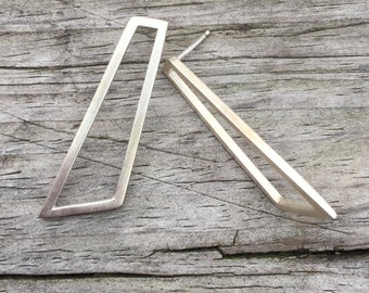 Silver Geometric Long Stud Earrings