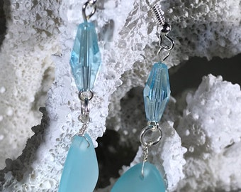 Aquamarine Sea Glass Drop Earrings