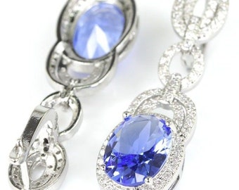 Sterling Silver Rich Blue Violet Tanzanite Gemstone Drop  Earrings With AAA White CZ Accents