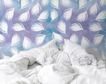 Watercolor feather Wallpaper, Removable Wallpaper, Self-adhesive Wallpaper, Wall Décor, Wallcovering - JW056