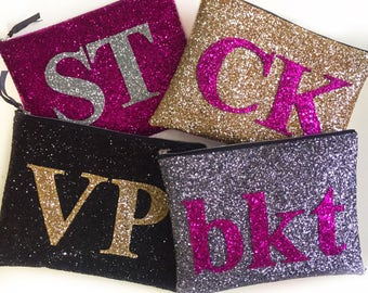Personalised Clutch Bag, Large Glitter Monogram Bag, Alphabet Bag, Monogram Clutch, Initial Bag, Sparkly Evening Clutch Bag, Wedding
