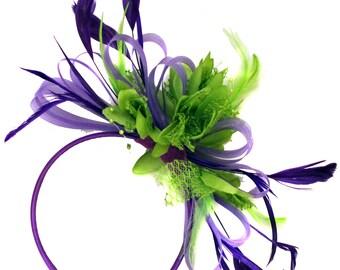 Purple Hoop & Lime Green Feathers Fascinator On Headband