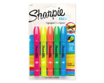 5 Sharpie Gel Highlighters, Yellow | Sharpie Accent Gel Highlighter | Assorted Colors 5-Pack
