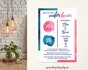 Couples Shower Invitation, Bridal Shower, Jack & Jill Shower, His and Hers Wedding Shower, Co-ed Shower, Printable, Digital, Invite