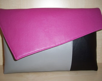 Pink grey and black faux leather over sized clutch bag