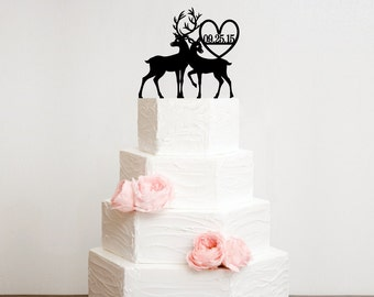 Deer Wedding Cake Topper with Heart and YOUR Wedding Date - Bridal Shower Topper
