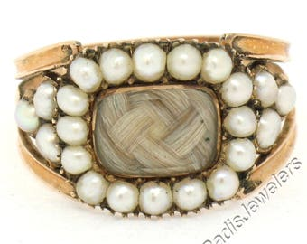 Antique Victorian Handmade Engraved 14K Rose Gold w/ Natural Pearl & Mourning Hair Band Ring Ca. 1810 w/ Original Purchase Box
