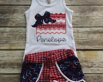 Patriotic flag shorts and tank top set little girls