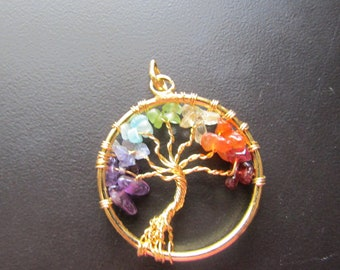 Tree of Life Chakra Pendant Silver or Gold